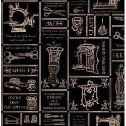 Thimble Pleasures - Sewing Sayings Black