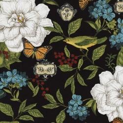 Modern Curiosity - Floral Birds Black