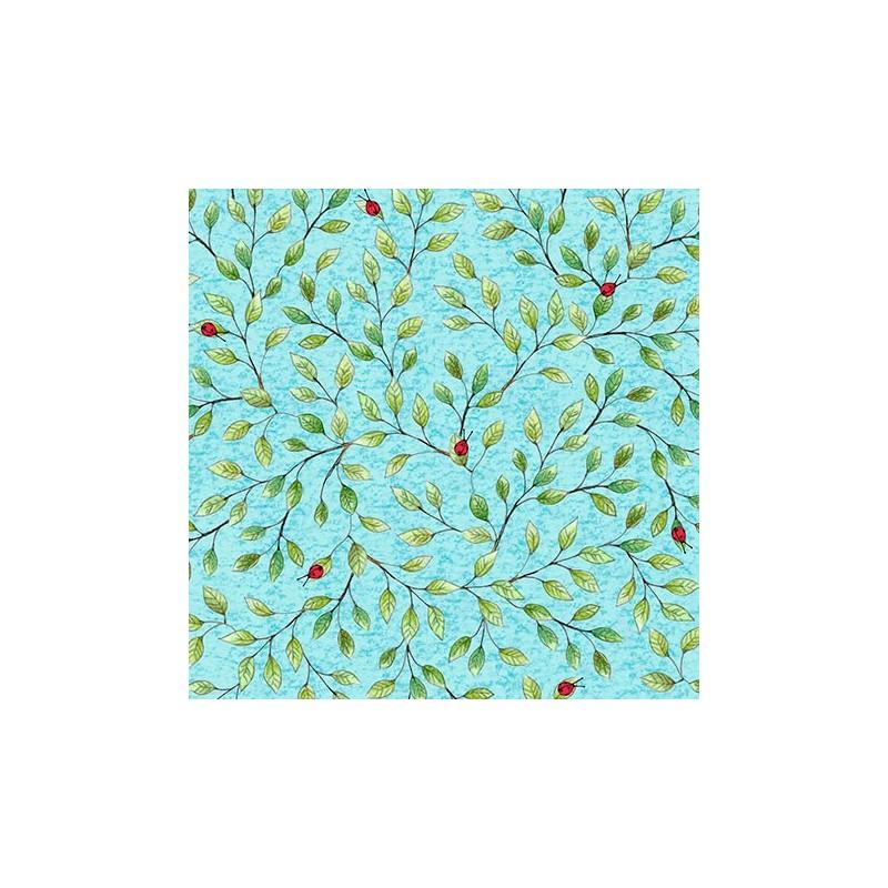Hangin' Out- Ladybug On Leaf Vine Blue