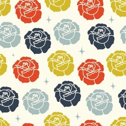 Roses Stamped - Double Gauze