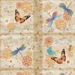 Motýli a vážky - béžové