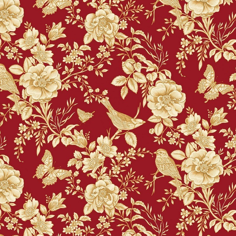 Savannah Garden - Red Toile