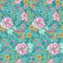 Ace Lawn BATIST - Flowers Teal